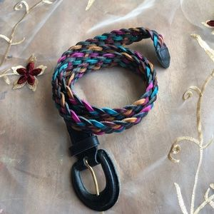Accessories - Multi Colored Braided Split Leather Belt Q596